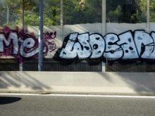 photo by @redesycalles of graffiti in the autovia in Madrid